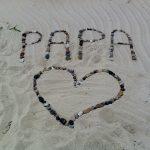 Papa, Bonne, Fête-des-Pères, Bonheur, Famille, Joie, Coeur, Sable